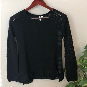 FRENCHI Cotton crochet eyelet sweater pullover